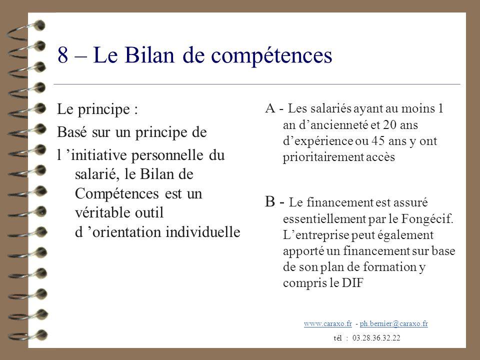 8 – Le Bilan de compétences
