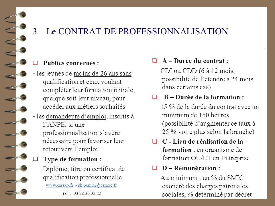 3 – Le CONTRAT DE PROFESSIONNALISATION