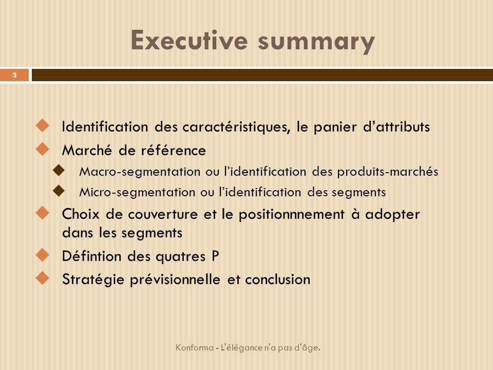Executive summary Identification des caractéristiques, le panier d'attributs. Marché de référence.