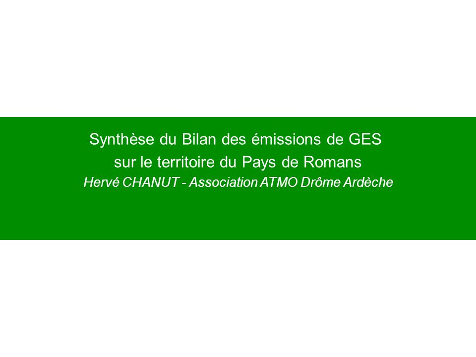 Synthèse du Bilan des émissions de GES