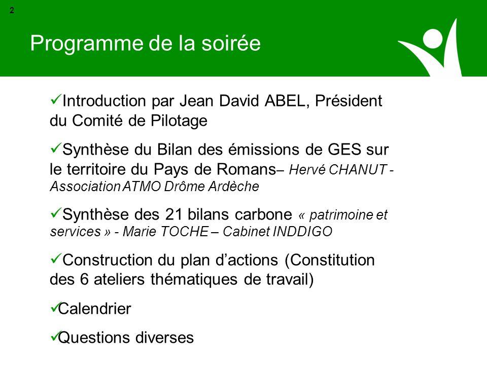 Programme de la soirée 2. Introduction par Jean David ABEL, Président du Comité de Pilotage.