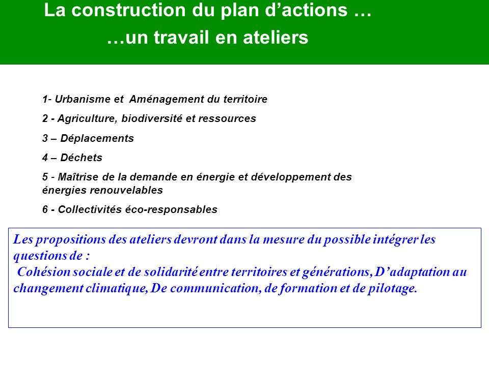 La construction du plan d'actions … …un travail en ateliers