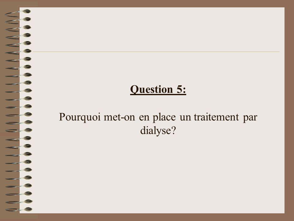 Question 5: Pourquoi met-on en place un traitement par dialyse