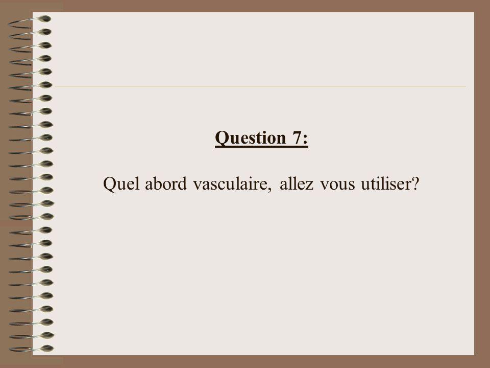 Question 7: Quel abord vasculaire, allez vous utiliser