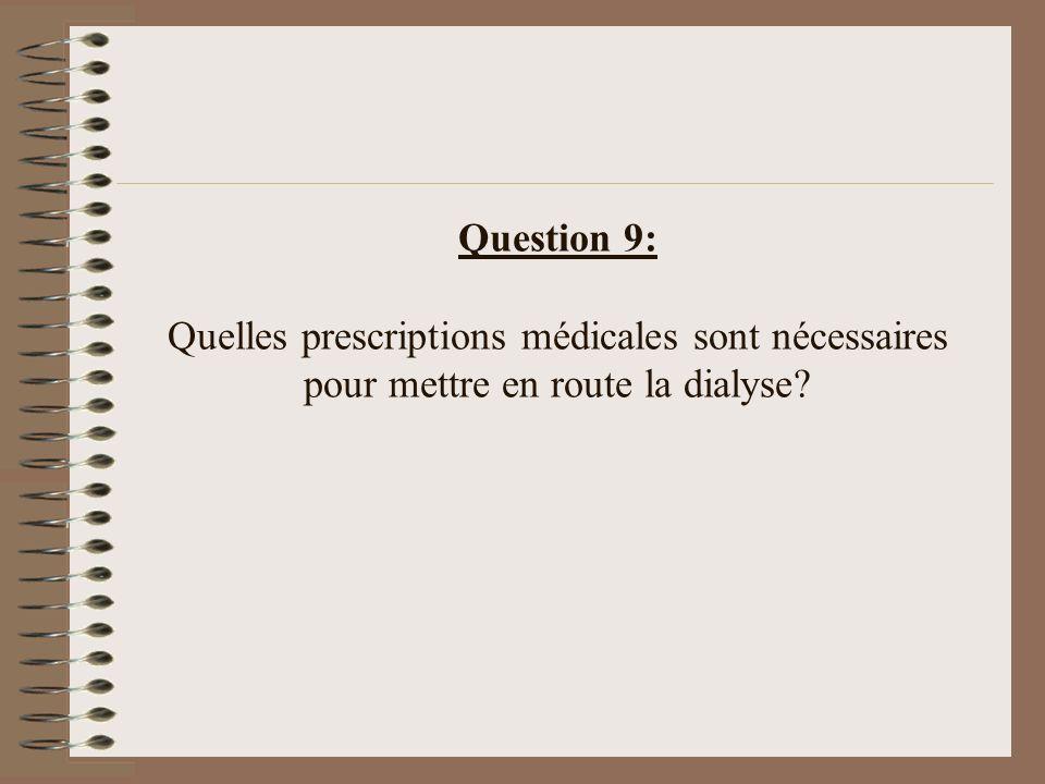 Question 9: Quelles prescriptions médicales sont nécessaires pour mettre en route la dialyse