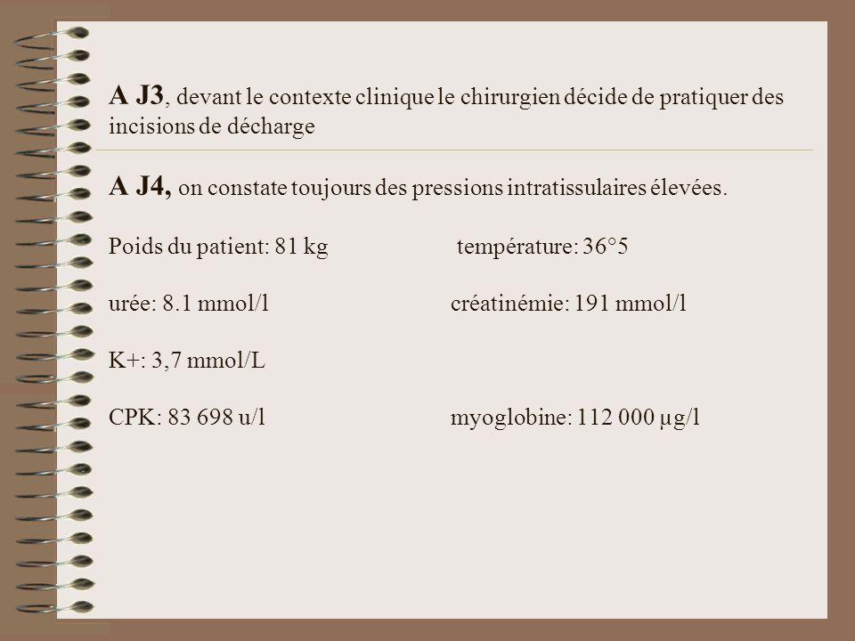 A J3, devant le contexte clinique le chirurgien décide de pratiquer des incisions de décharge A J4, on constate toujours des pressions intratissulaires élevées.
