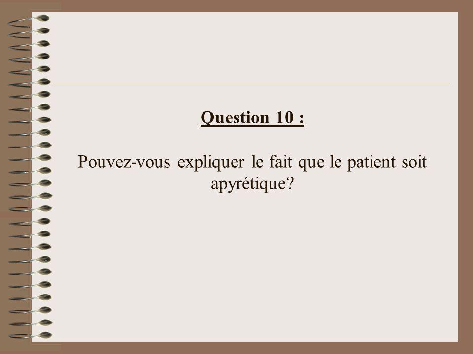 Question 10 : Pouvez-vous expliquer le fait que le patient soit apyrétique