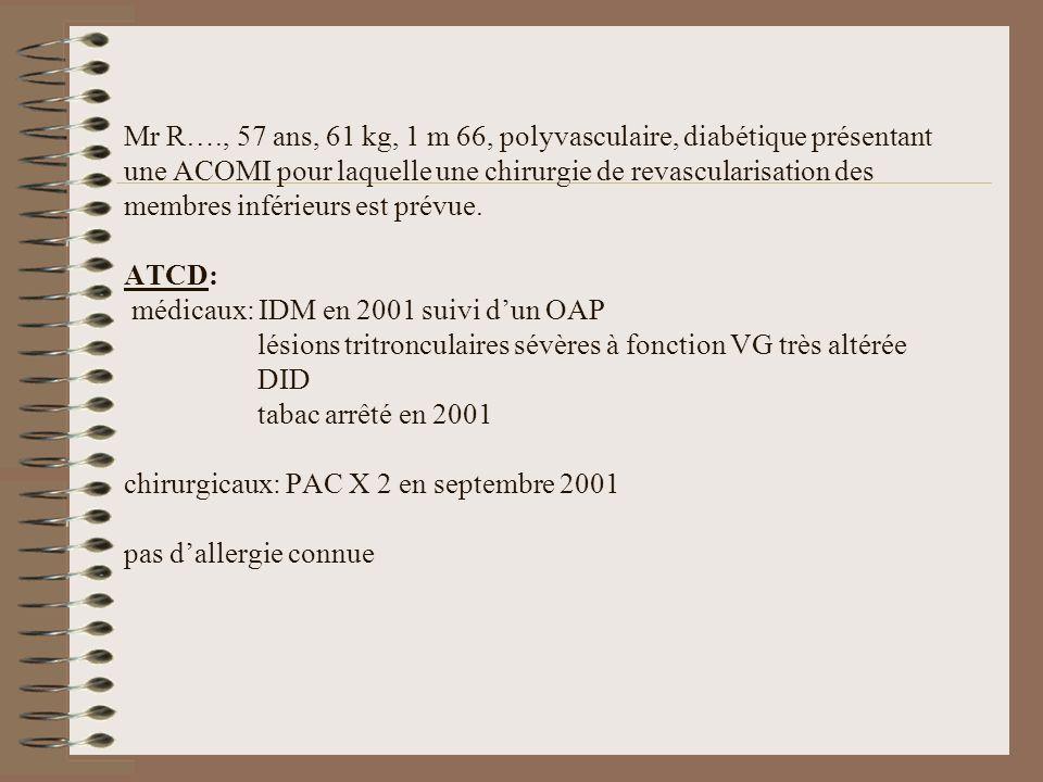 Mr R…., 57 ans, 61 kg, 1 m 66, polyvasculaire, diabétique présentant une ACOMI pour laquelle une chirurgie de revascularisation des membres inférieurs est prévue.