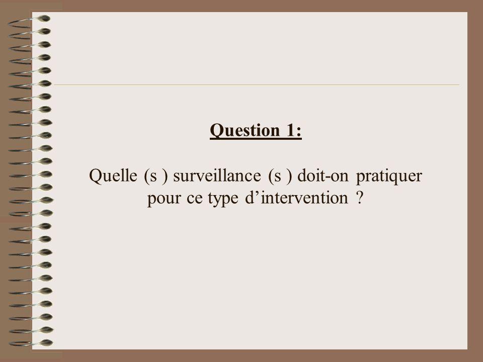 Question 1: Quelle (s ) surveillance (s ) doit-on pratiquer pour ce type d'intervention