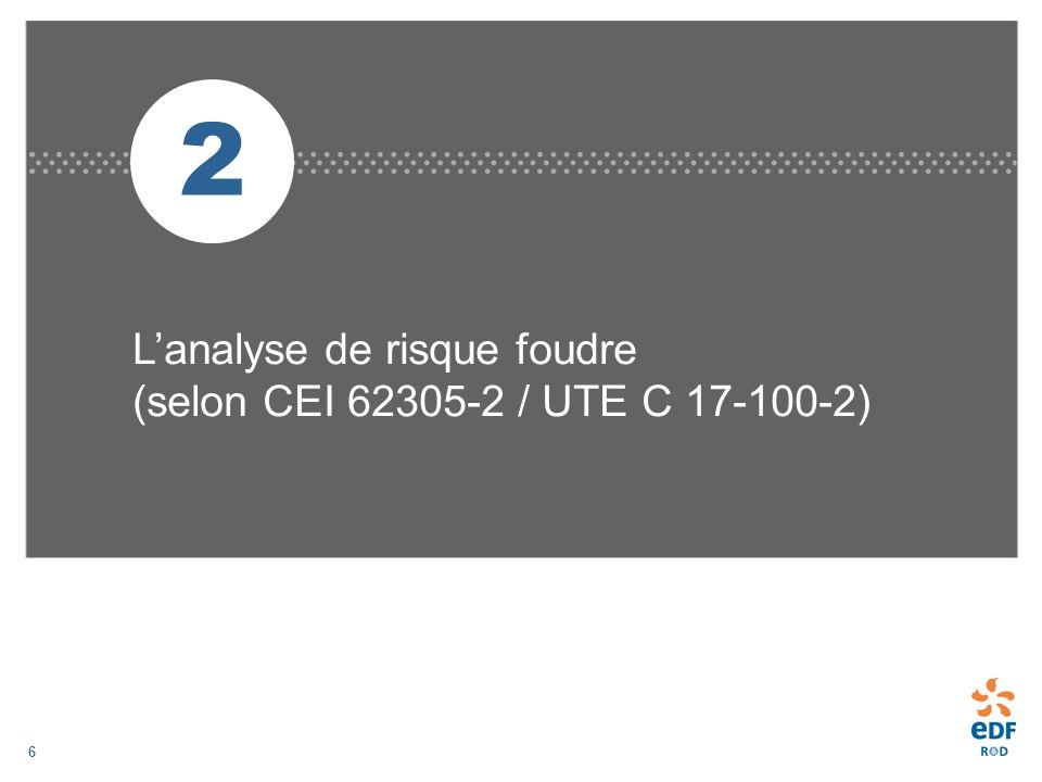 2 L'analyse de risque foudre (selon CEI 62305-2 / UTE C 17-100-2)