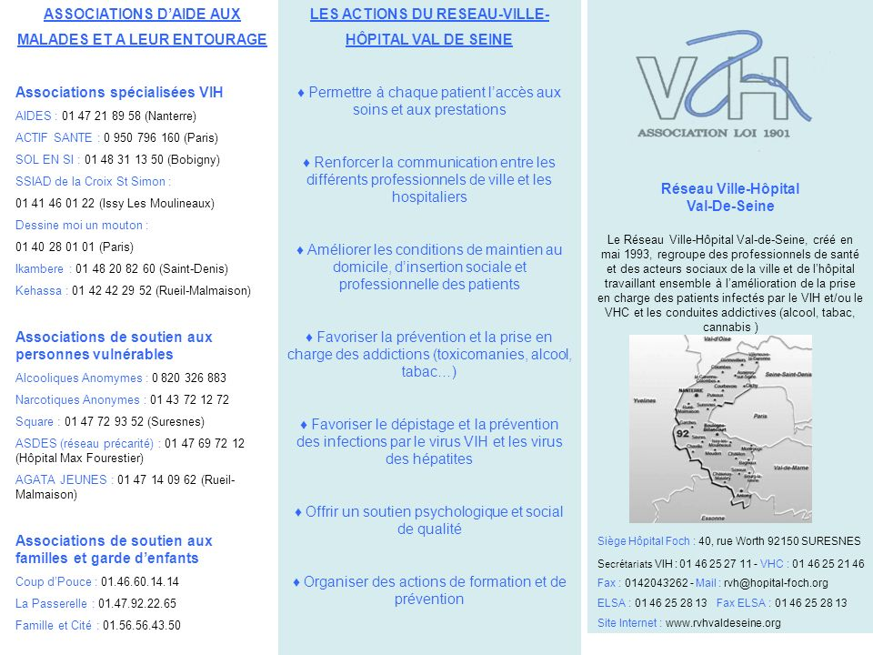 LES ACTIONS DU RESEAU-VILLE- HÔPITAL VAL DE SEINE