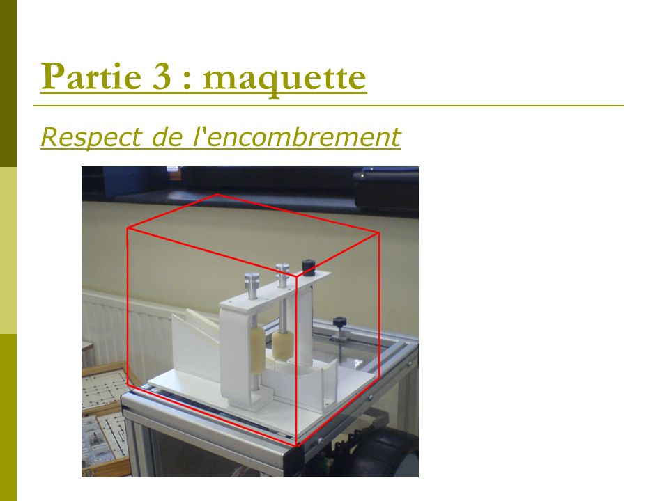 Partie 3 : maquette Respect de l'encombrement