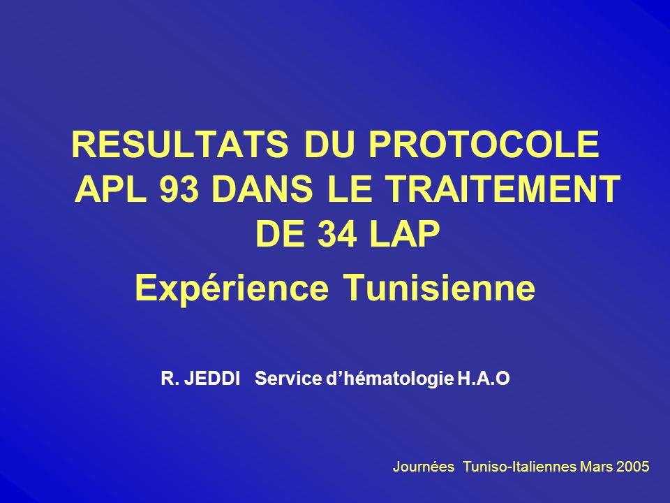 RESULTATS DU PROTOCOLE APL 93 DANS LE TRAITEMENT DE 34 LAP