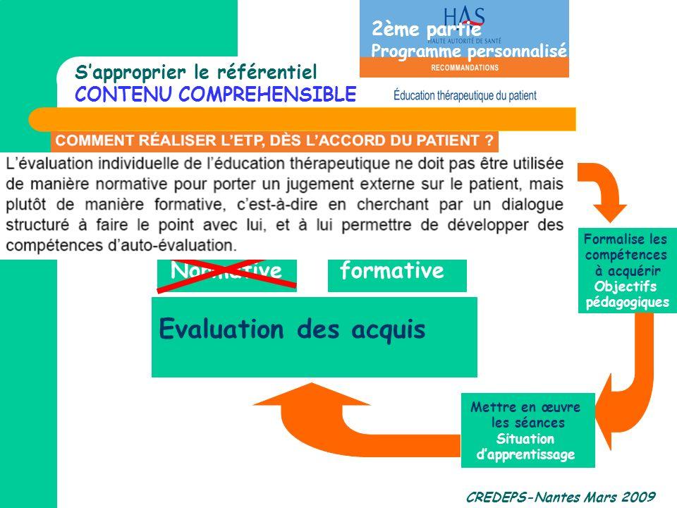 Evaluation des acquis Normative formative 2ème partie
