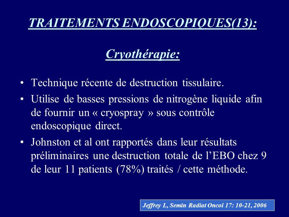 TRAITEMENTS ENDOSCOPIQUES(13): Cryothérapie: