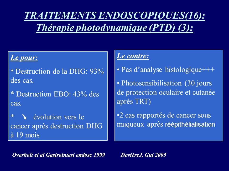 TRAITEMENTS ENDOSCOPIQUES(16): Thérapie photodynamique (PTD) (3):