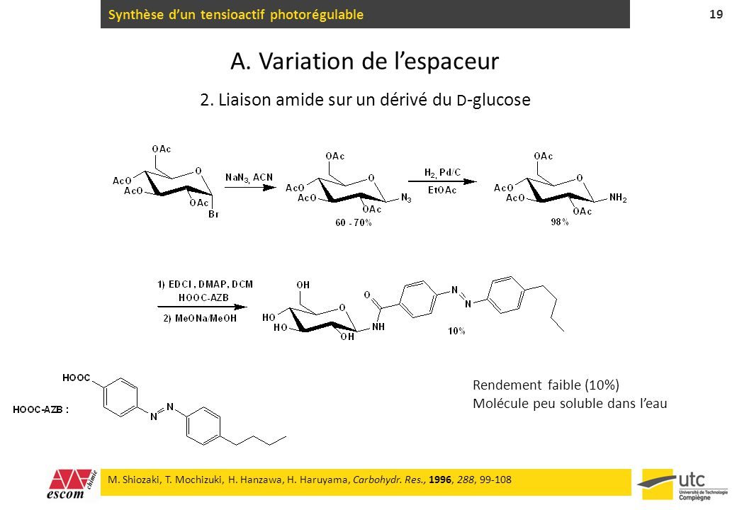 Synthèse d'un tensioactif photorégulable
