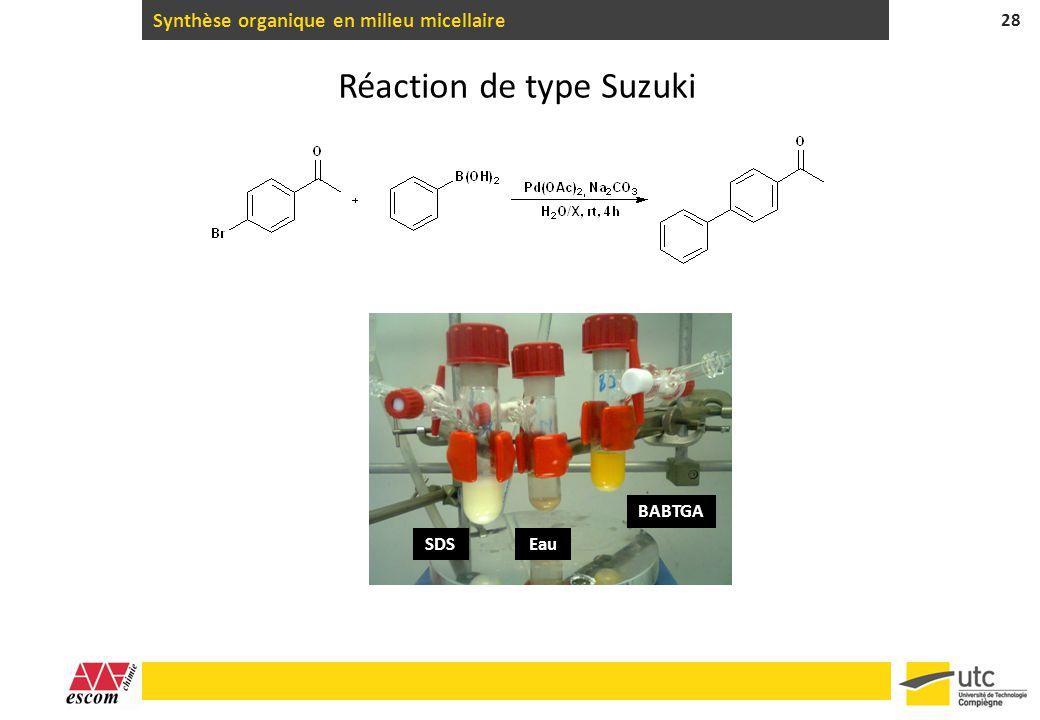 Synthèse organique en milieu micellaire