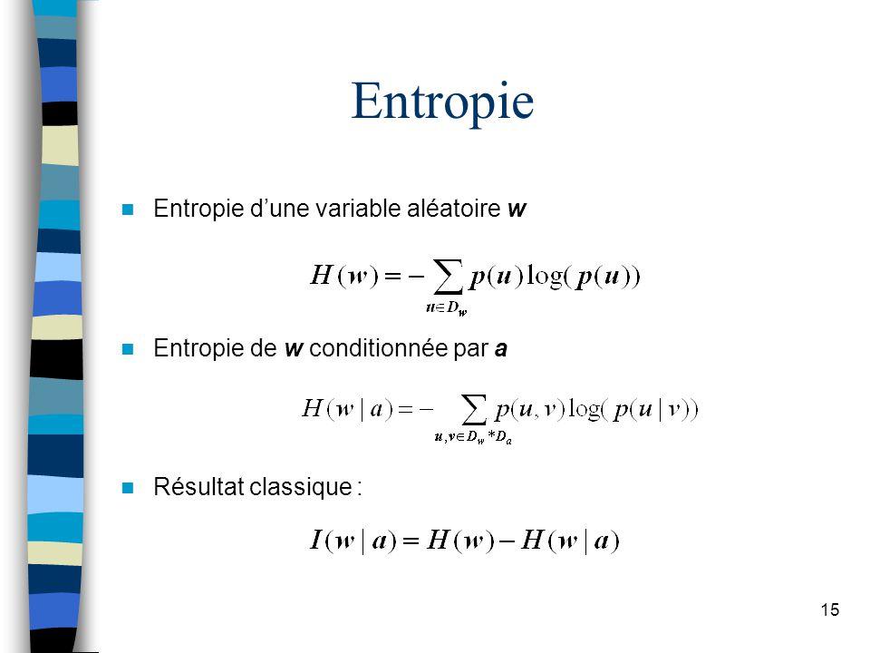 Entropie Entropie d'une variable aléatoire w