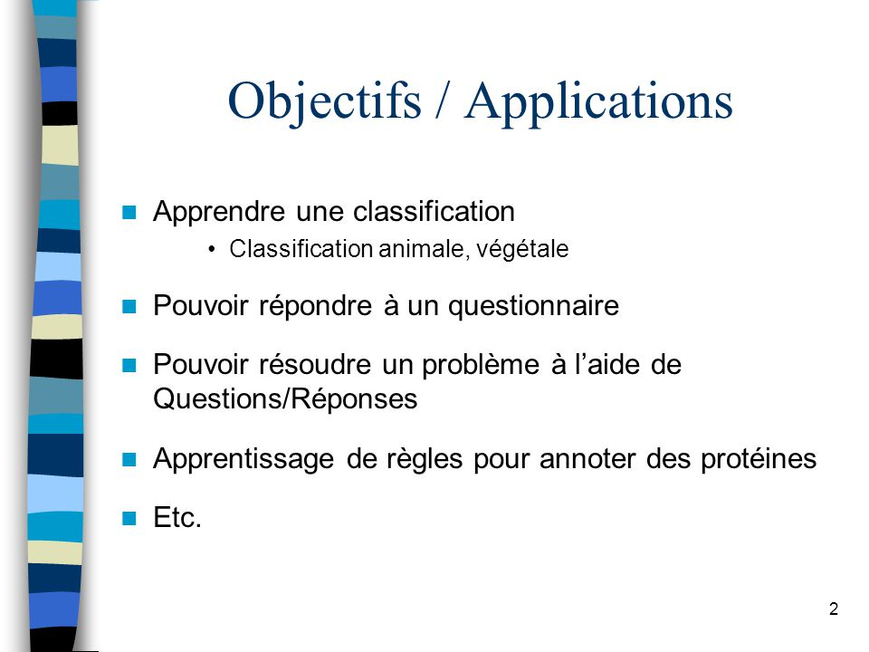Objectifs / Applications