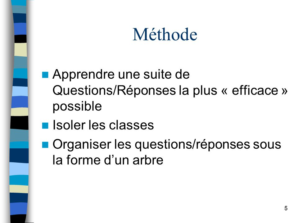 Méthode Apprendre une suite de Questions/Réponses la plus « efficace » possible. Isoler les classes.
