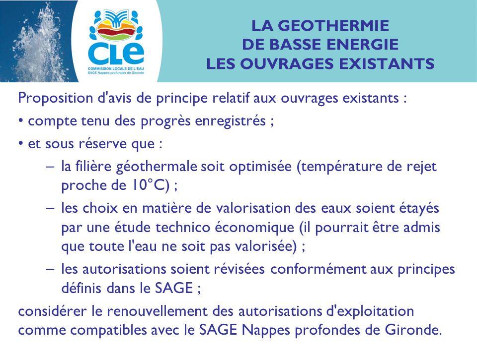 LA GEOTHERMIE DE BASSE ENERGIE LES OUVRAGES EXISTANTS