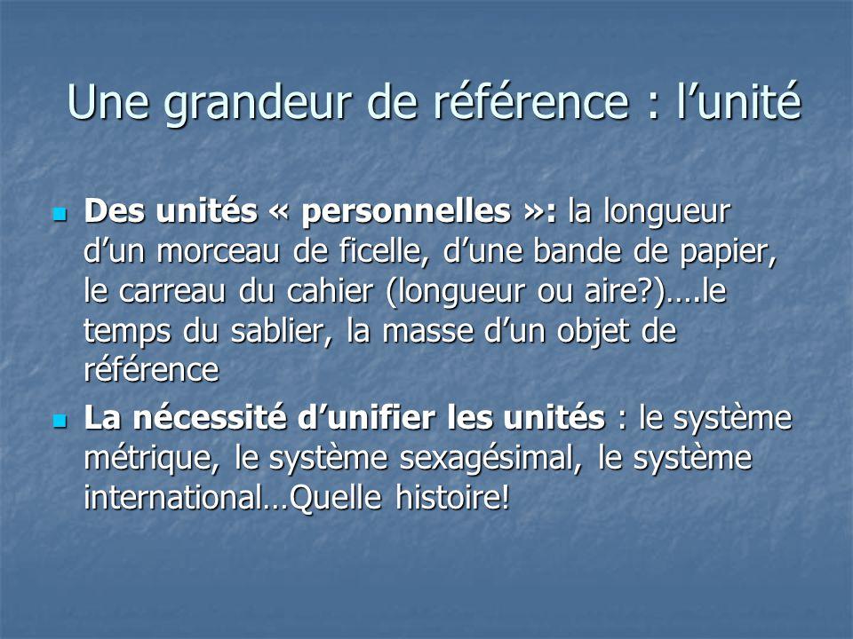 Une grandeur de référence : l'unité