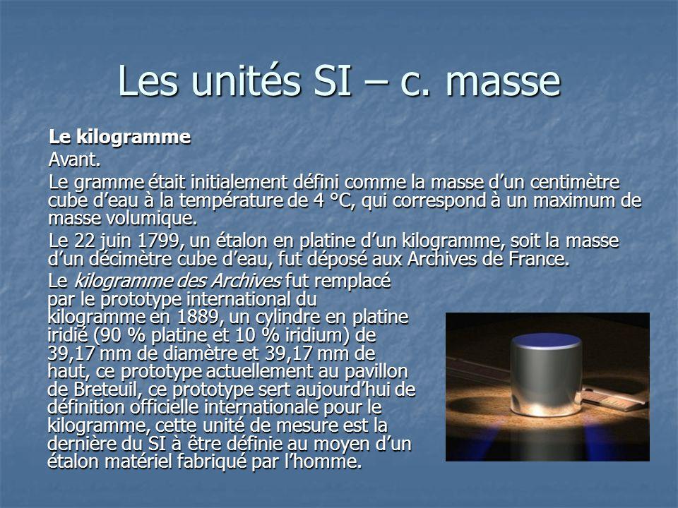 Les unités SI – c. masse Le kilogramme Avant.