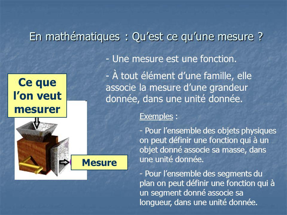 En mathématiques : Qu'est ce qu'une mesure