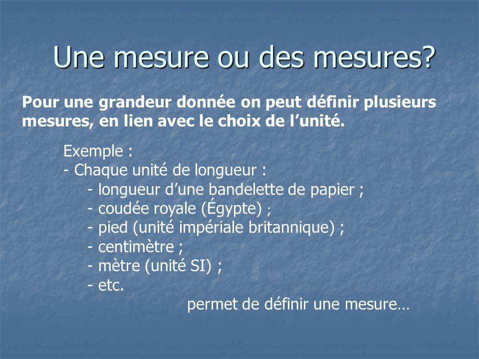 Une mesure ou des mesures