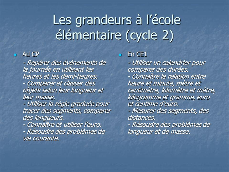 Les grandeurs à l'école élémentaire (cycle 2)