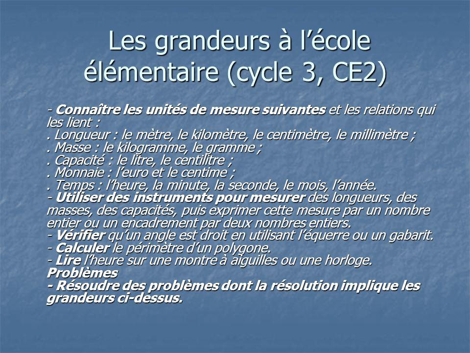 Les grandeurs à l'école élémentaire (cycle 3, CE2)