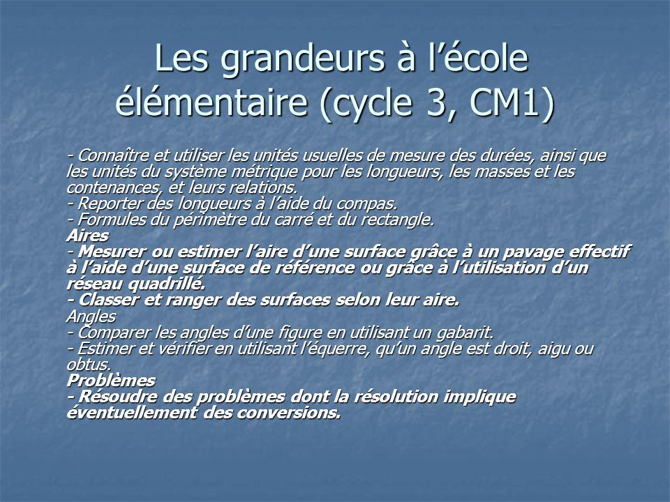 Les grandeurs à l'école élémentaire (cycle 3, CM1)