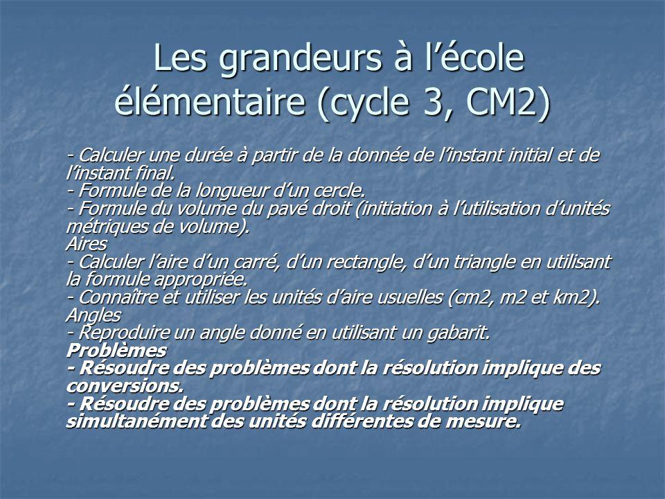 Les grandeurs à l'école élémentaire (cycle 3, CM2)