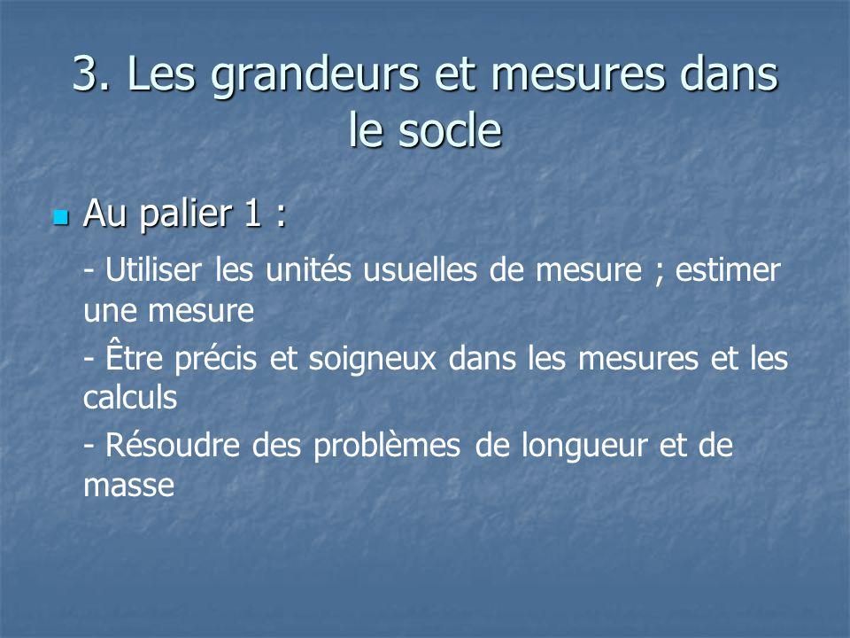 3. Les grandeurs et mesures dans le socle