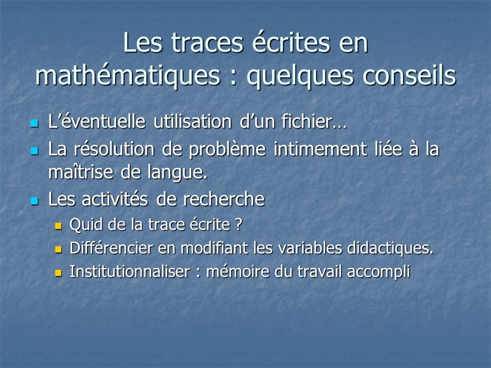 Les traces écrites en mathématiques : quelques conseils
