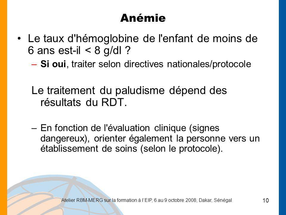 Le traitement du paludisme dépend des résultats du RDT.
