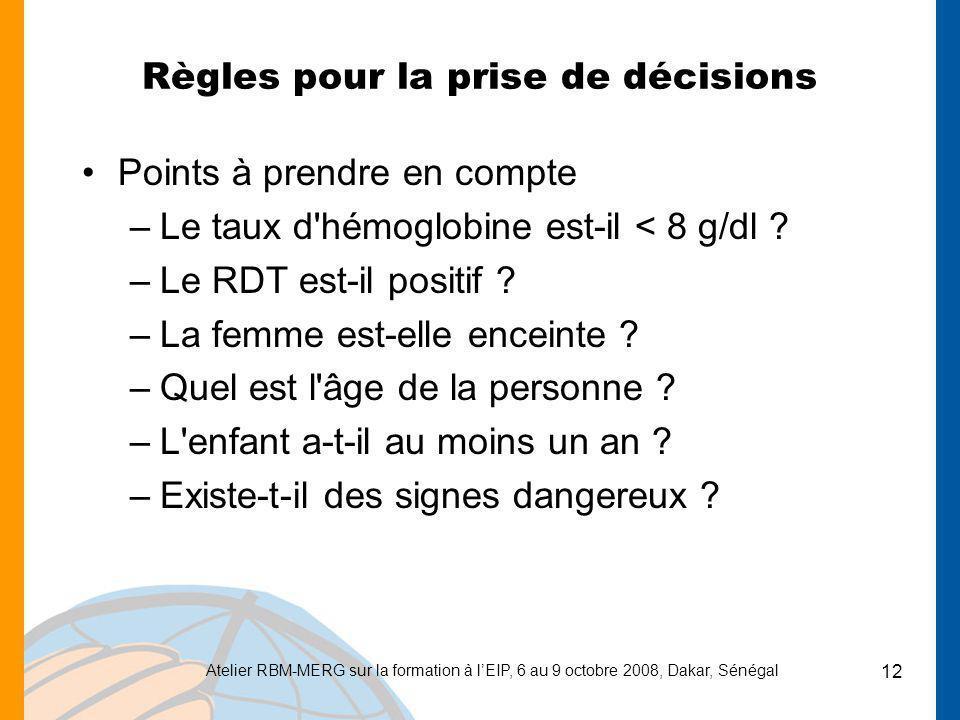 Règles pour la prise de décisions