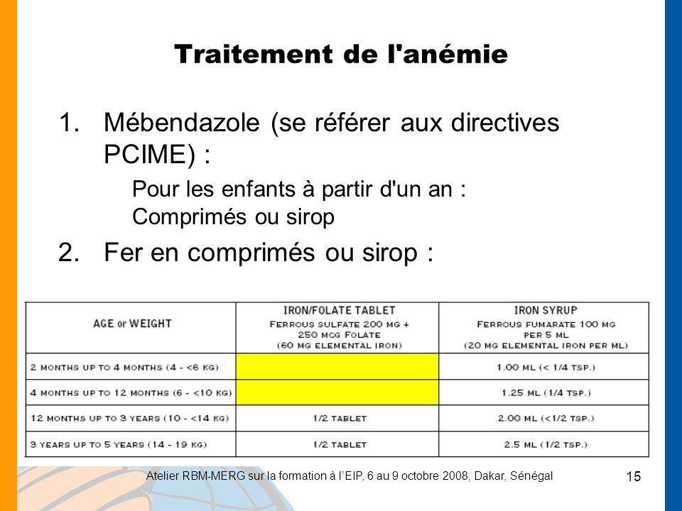 Mébendazole (se référer aux directives PCIME) :