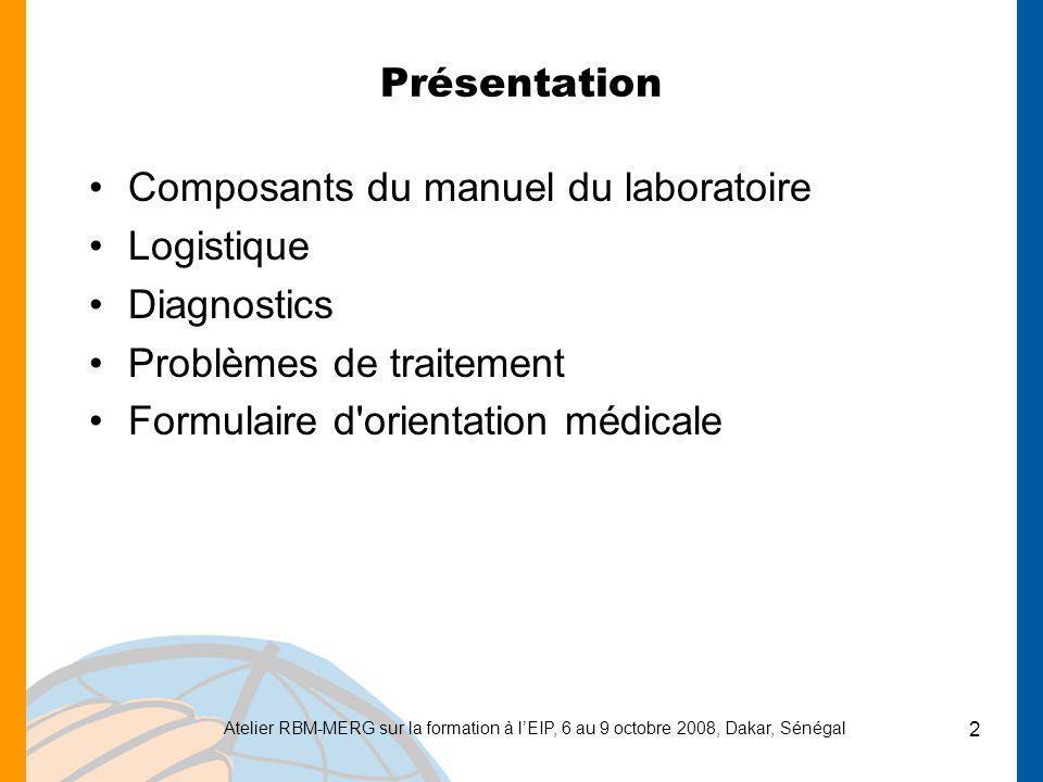 Composants du manuel du laboratoire Logistique Diagnostics