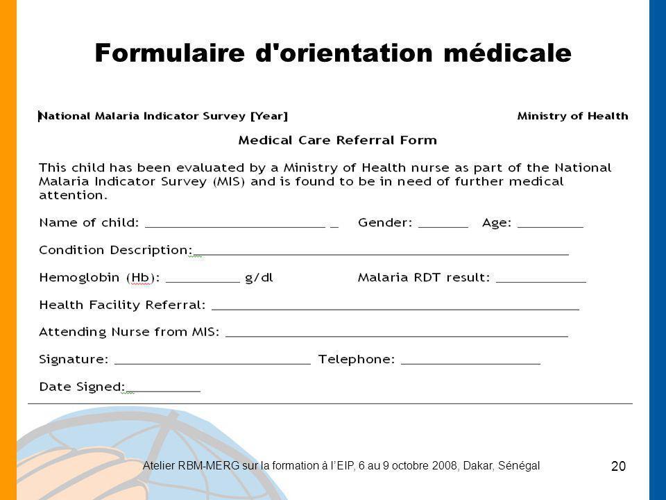 Formulaire d orientation médicale