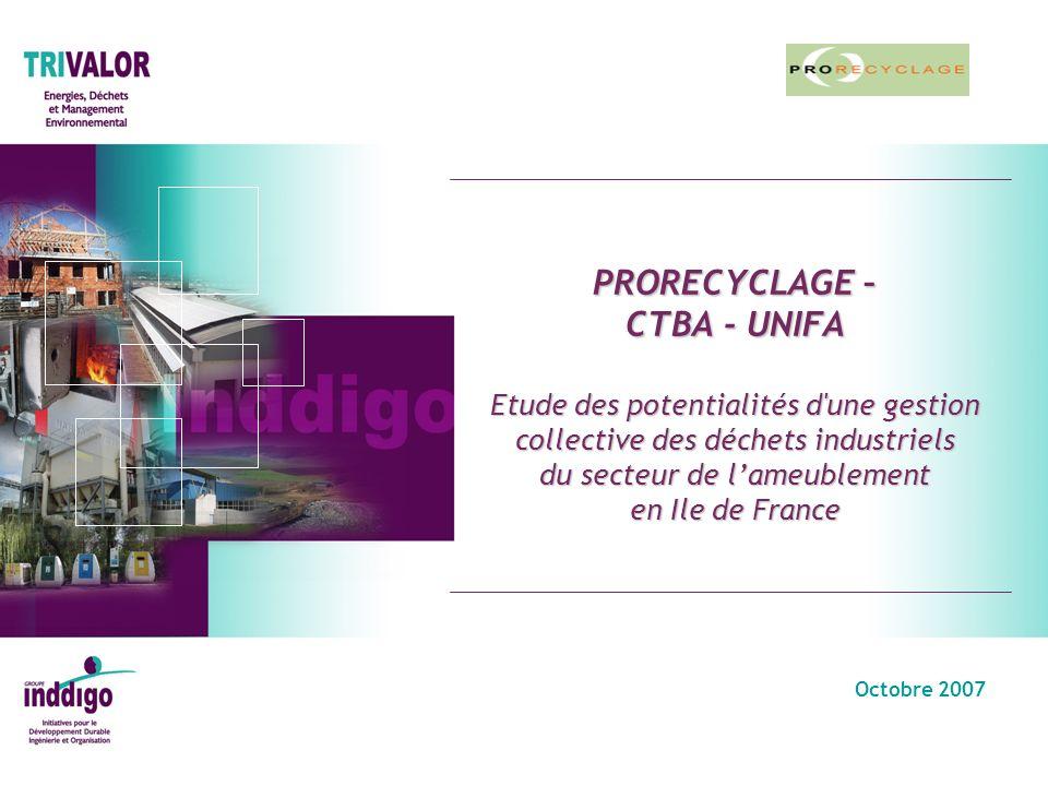 PRORECYCLAGE – CTBA - UNIFA Etude des potentialités d une gestion collective des déchets industriels du secteur de l'ameublement en Ile de France
