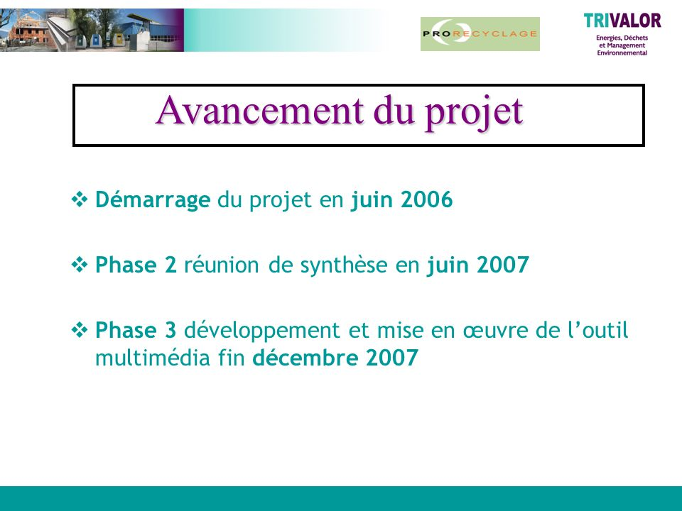 Avancement du projet Démarrage du projet en juin 2006