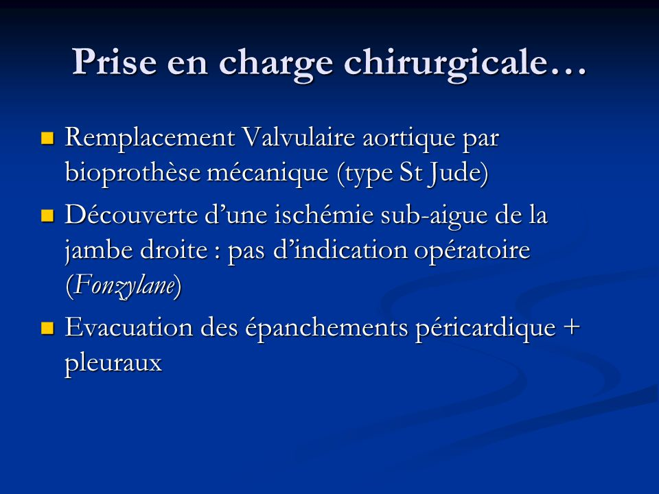 Prise en charge chirurgicale…