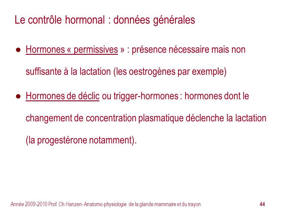 Le contrôle hormonal : données générales