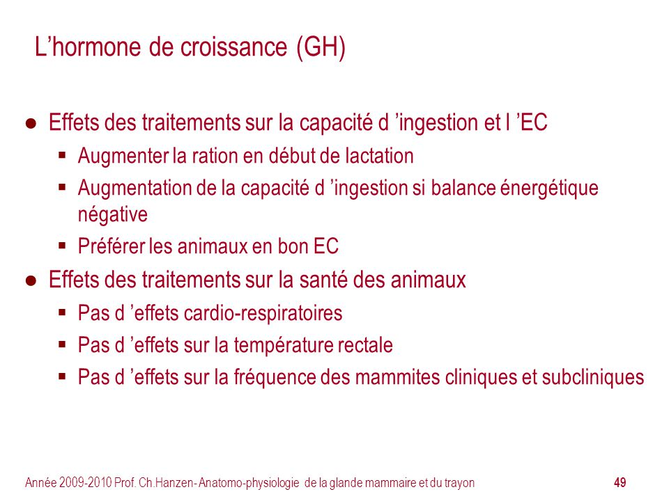 L'hormone de croissance (GH)