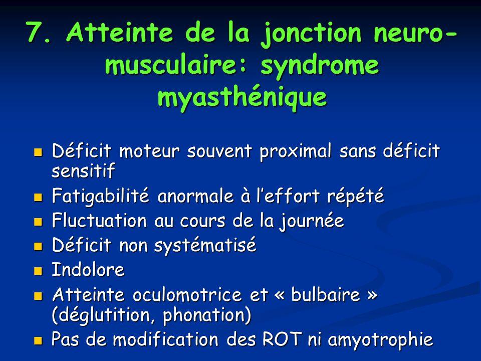 7. Atteinte de la jonction neuro-musculaire: syndrome myasthénique