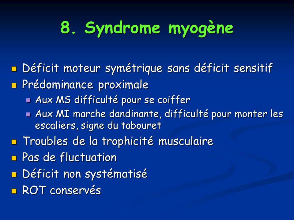 8. Syndrome myogène Déficit moteur symétrique sans déficit sensitif