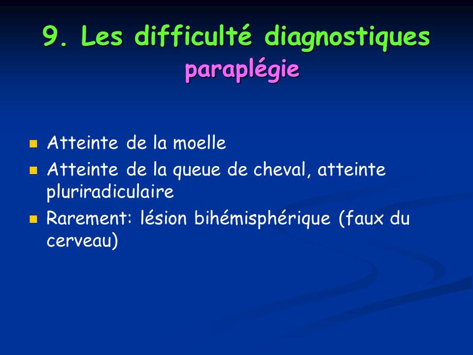 9. Les difficulté diagnostiques paraplégie