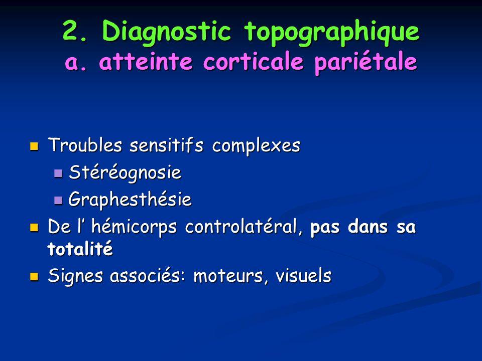 2. Diagnostic topographique a. atteinte corticale pariétale